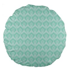 Damask Aqua Green Large 18  Premium Round Cushions by snowwhitegirl