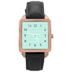 Damask Aqua Green Rose Gold Leather Watch