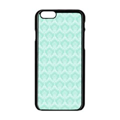 Damask Aqua Green Apple Iphone 6/6s Black Enamel Case by snowwhitegirl