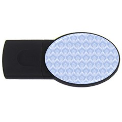 Damask Light Blue Usb Flash Drive Oval (4 Gb) by snowwhitegirl