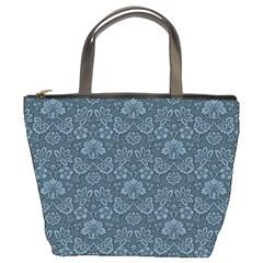 Damask Blue Bucket Bags