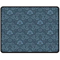 Damask Blue Fleece Blanket (medium)  by snowwhitegirl