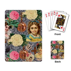 Damask Religious Victorian Grey Playing Card by snowwhitegirl