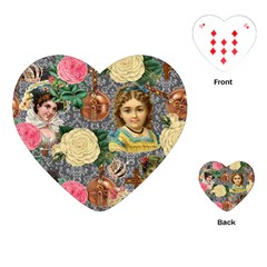 Damask Religious Victorian Grey Playing Cards (heart)