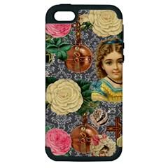 Damask Religious Victorian Grey Apple Iphone 5 Hardshell Case (pc+silicone) by snowwhitegirl