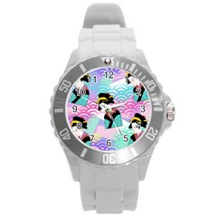 Japanese Abstract Round Plastic Sport Watch (l) by snowwhitegirl