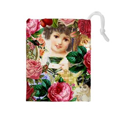 Little Girl Victorian Collage Drawstring Pouches (large)  by snowwhitegirl