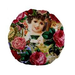 Little Girl Victorian Collage Standard 15  Premium Flano Round Cushions by snowwhitegirl