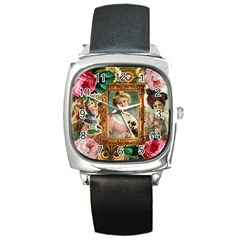 Victorian Collage Of Woman Square Metal Watch by snowwhitegirl