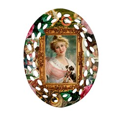 Victorian Collage Of Woman Oval Filigree Ornament (two Sides) by snowwhitegirl