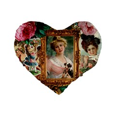 Victorian Collage Of Woman Standard 16  Premium Flano Heart Shape Cushions by snowwhitegirl