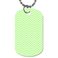 Green Chevron Dog Tag (two Sides) by snowwhitegirl