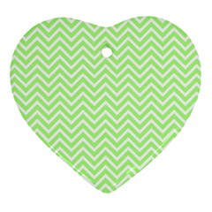 Green Chevron Heart Ornament (two Sides)