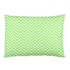 Green Chevron Pillow Case (two Sides) by snowwhitegirl