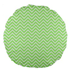 Green Chevron Large 18  Premium Round Cushions
