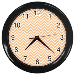 Orange Chevron Wall Clocks (black) by snowwhitegirl