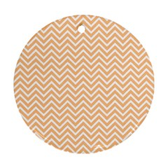 Orange Chevron Round Ornament (two Sides) by snowwhitegirl