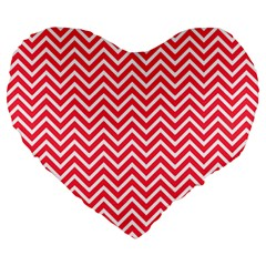 Red Chevron Large 19  Premium Heart Shape Cushions by snowwhitegirl
