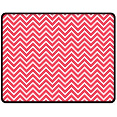 Red Chevron Double Sided Fleece Blanket (medium)  by snowwhitegirl