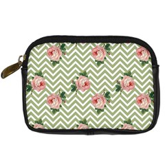 Green Chevron Rose Digital Camera Cases by snowwhitegirl