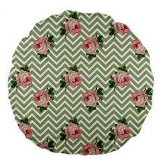 Green Chevron Rose Large 18  Premium Flano Round Cushions by snowwhitegirl