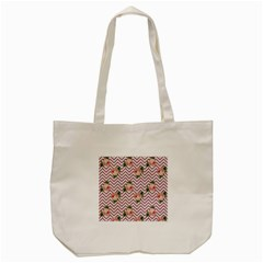 Violet Chevron Rose Tote Bag (cream) by snowwhitegirl