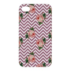 Violet Chevron Rose Apple Iphone 4/4s Premium Hardshell Case