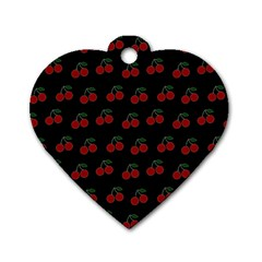 Cherries Black Dog Tag Heart (two Sides) by snowwhitegirl