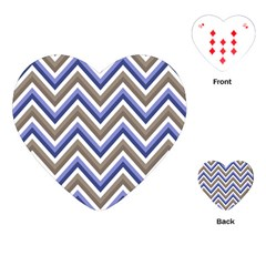 Chevron Blue Beige Playing Cards (heart)  by snowwhitegirl