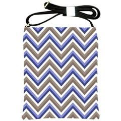 Chevron Blue Beige Shoulder Sling Bags by snowwhitegirl