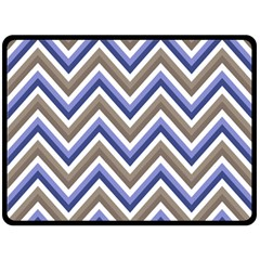 Chevron Blue Beige Double Sided Fleece Blanket (large)  by snowwhitegirl