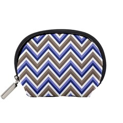 Chevron Blue Beige Accessory Pouches (small)  by snowwhitegirl