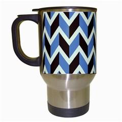 Chevron Blue Brown Travel Mugs (white) by snowwhitegirl