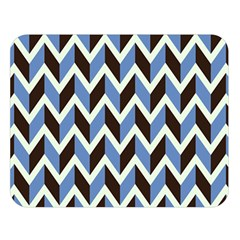 Chevron Blue Brown Double Sided Flano Blanket (large)  by snowwhitegirl