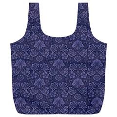 Damask Purple Full Print Recycle Bags (l)  by snowwhitegirl
