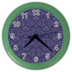 Damask Purple Color Wall Clocks