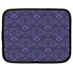 Damask Purple Netbook Case (large) by snowwhitegirl