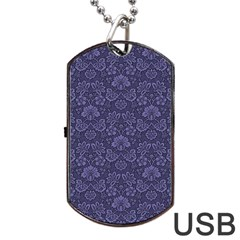 Damask Purple Dog Tag Usb Flash (two Sides)