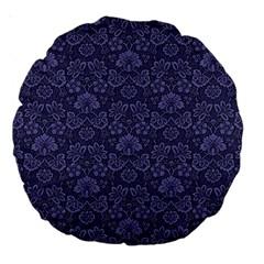 Damask Purple Large 18  Premium Round Cushions by snowwhitegirl