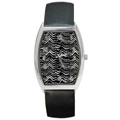 Dark Abstract Pattern Barrel Style Metal Watch by dflcprints