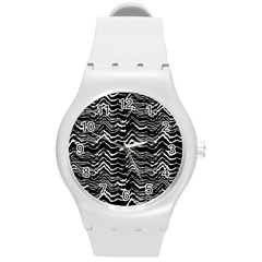 Dark Abstract Pattern Round Plastic Sport Watch (m) by dflcprints
