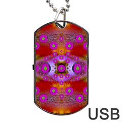 Shimmering Pond With Lotus Bloom Dog Tag Usb Flash (two Sides)