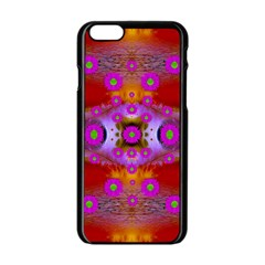 Shimmering Pond With Lotus Bloom Apple Iphone 6/6s Black Enamel Case by pepitasart