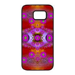 Shimmering Pond With Lotus Bloom Samsung Galaxy S7 Edge Black Seamless Case by pepitasart