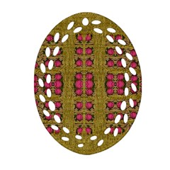 Bloom In Gold Shine And You Shall Be Strong Oval Filigree Ornament (two Sides) by pepitasart