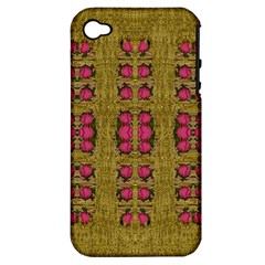 Bloom In Gold Shine And You Shall Be Strong Apple Iphone 4/4s Hardshell Case (pc+silicone) by pepitasart