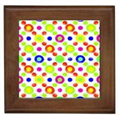 Multicolored Circles Motif Pattern Framed Tiles by dflcprints