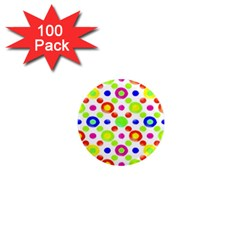 Multicolored Circles Motif Pattern 1  Mini Magnets (100 Pack)  by dflcprints