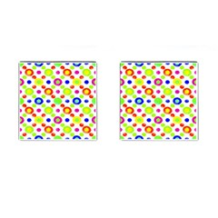 Multicolored Circles Motif Pattern Cufflinks (square) by dflcprints