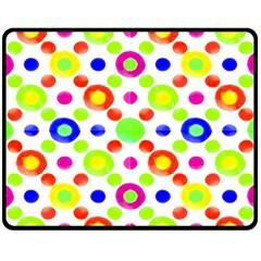 Multicolored Circles Motif Pattern Fleece Blanket (medium)  by dflcprints
